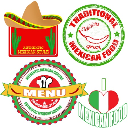 mexican sombrero: Set of authentic mexican food stamp and labels on white background, vector illustration