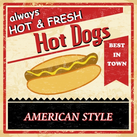 50s: Vintage Hot dog grunge old style poster background, vector illustration