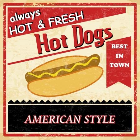 Vintage Hot dog grunge old style poster background, vector illustration