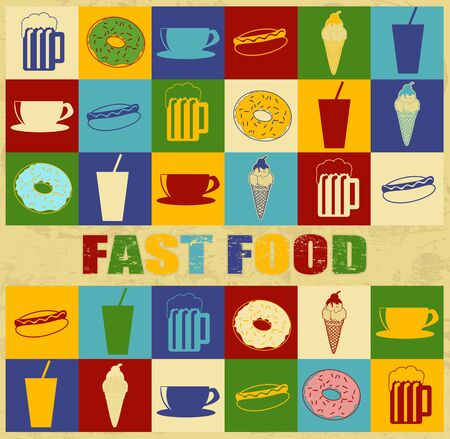 Fast food poster with food icons over vintage background, vector illustration Vector