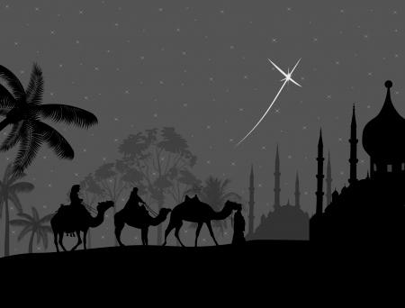 bedouin: Bedouin camel caravan in wild africa landscape on night illustration