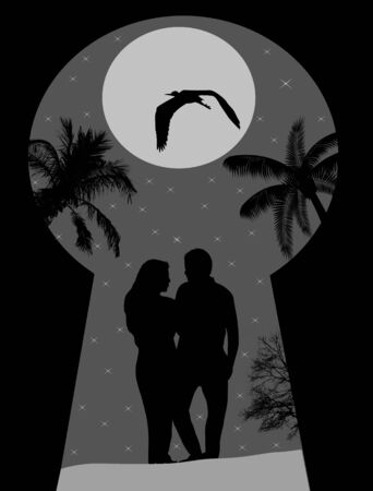 key hole: Silhouette of a lovers on night landscape seen through a key hole, illustration