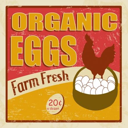 org�nico: Los huevos org�nicos cartel de la vendimia grunge retro, ilustrador Vectores