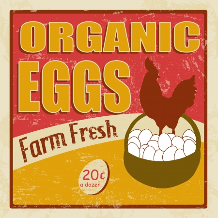 Organic eggs vintage retro grunge poster, illustrator Stock Vector - 18119274