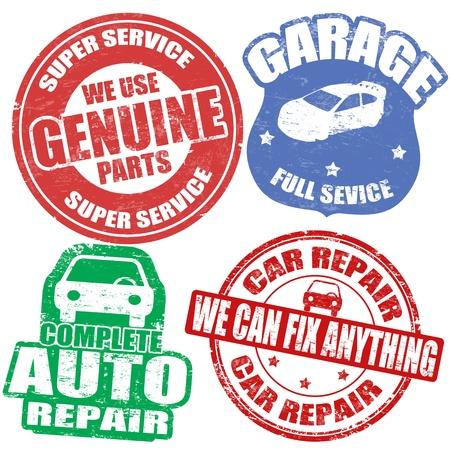 reparation automobile: Jeu de timbres en caoutchouc de services automobiles grunge sur fond blanc, illustration
