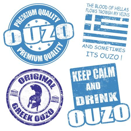 Set of ouzo grunge rubber stamps on white