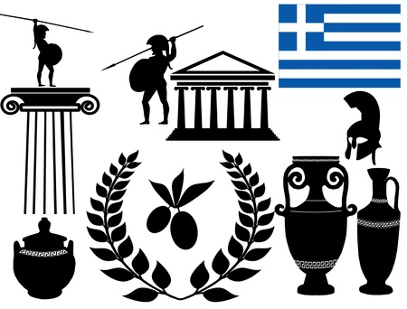 Traditional symbols of Greece on white background Stock Vector - 18143350