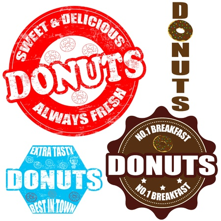 retro restaurant: Set of donuts grunge rubber stamps and label on white, vector illustration