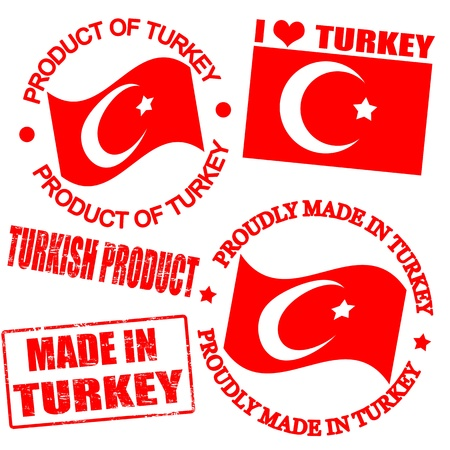 turkish flag: Set of stamps and labels with the text made in Turkey written inside