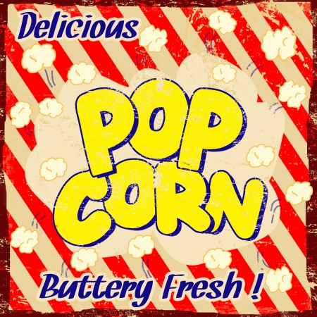 popcorn: Pop corn vintage poster grunge