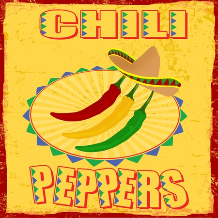 chilli pepper: Chili peppers vintage grunge poster Illustration