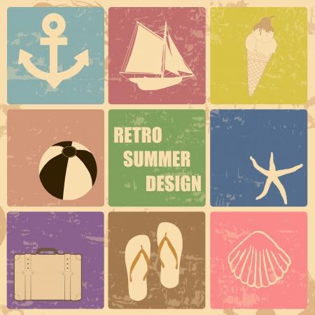 Verano Retro cartel hecho de iconos, ilustración vectorial Ilustración de vector