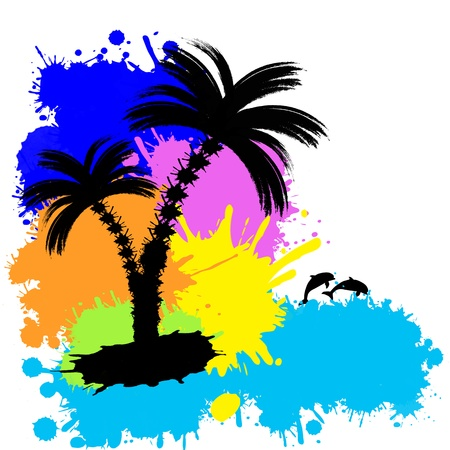 coastlines: Tropical background with palms made from colored splatters, vector illustration