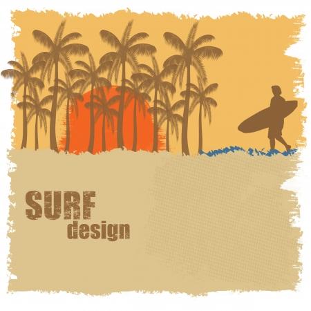 Surf diseño del cartel con surfista y palmeras, ilustración vectorial