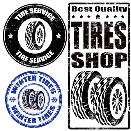 treads: Set of tire grunge ruber stamps on white, vector illustration