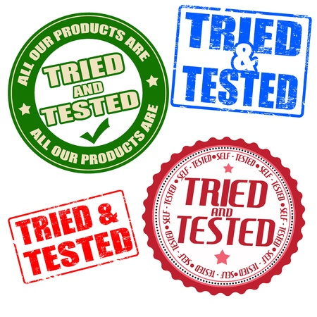 acception: Set of self tried and tested grunge rubber stamps and labels on white, vector illustration Illustration