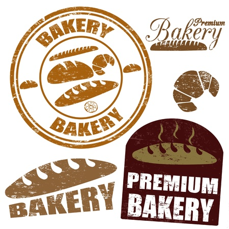 bakery products: Set of  bakery grunge rubber stamps on white background, vector illustration
