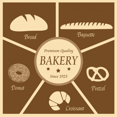 wholemeal: Vintage poster of bakery with bakery icons, vector illustration