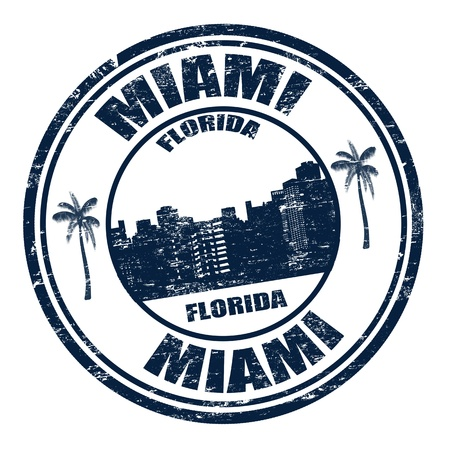 Grunge rubber stamp with the name of Miami city from Florida written inside, illustration