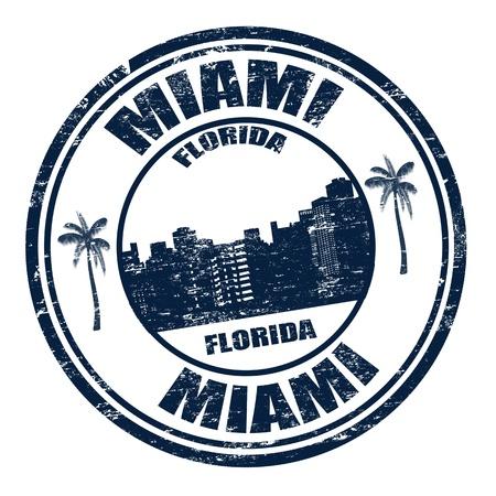 Tampon en caoutchouc grunge avec le nom de la ville de Miami en Floride écrit à l'intérieur, illustration