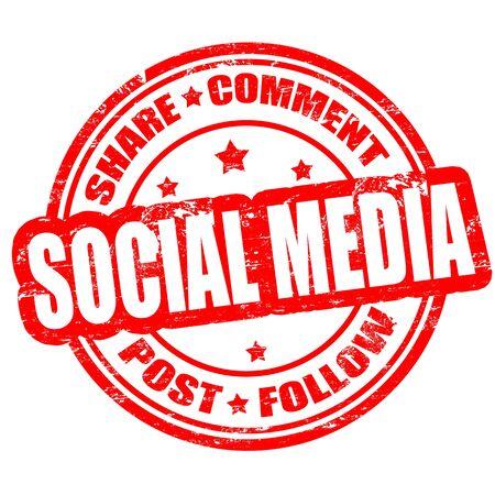 Social media grunge rubber stamp on white, illustration Stock Vector - 18299050