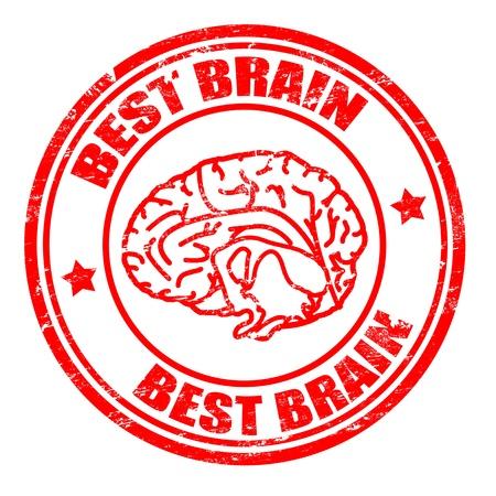 talamo: Sello de goma abstracto del grunge con la forma del cerebro y el cerebro mejor texto escrito en su interior, ilustraci�n