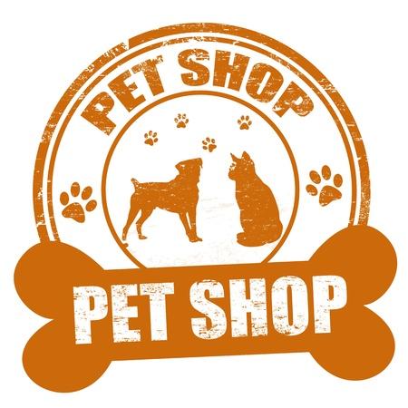 Pet shop grunge sello de goma en blanco, ilustración