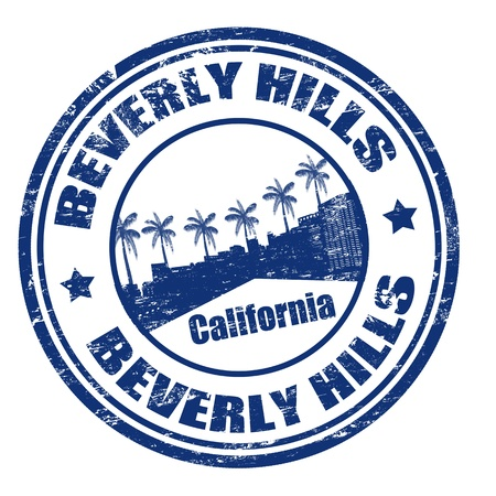 beverly hills: Grunge rubber stamp with the name of Beverly Hills city, California,  illustration