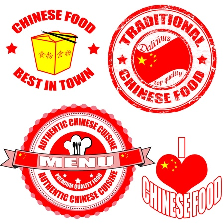 Set of authentic chinese food stamp and labels on white background, illustration Vector