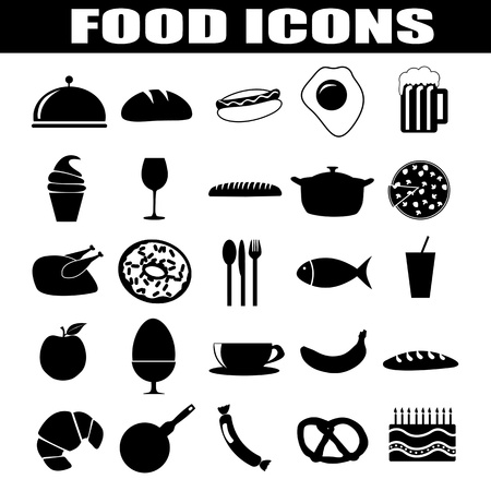 Food icons set on white background, illustration Vector