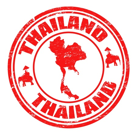thailand: Grunge rubber stamp with map of Thailand  and the name Thailand written inside the stamp