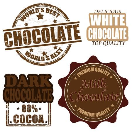 barra de chocolate: Conjunto de sellos de goma del grunge de chocolate y las etiquetas sobre fondo blanco Vectores