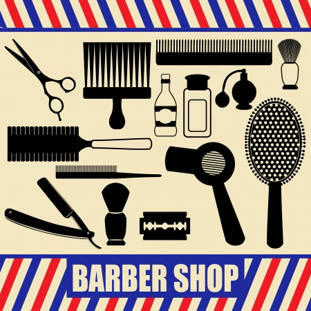 barber shave: Vintage barber and hairdresser related silhouette set