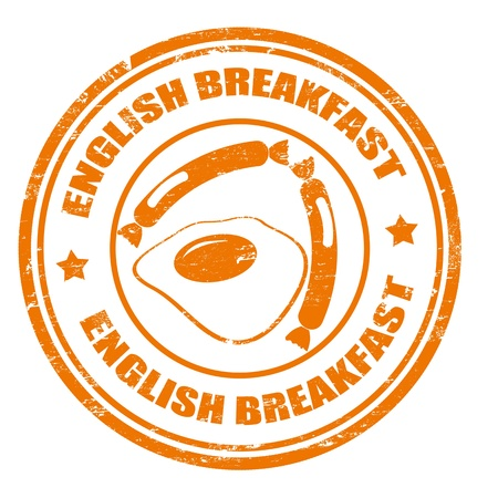 english breakfast: Green rubber stamp with the text english breakfast written inside the stamp