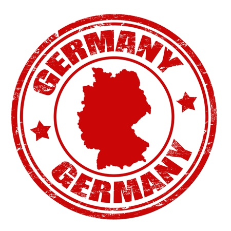 Grunge rubber stamp with map of Germany and the name Germany written inside the stamp Vector