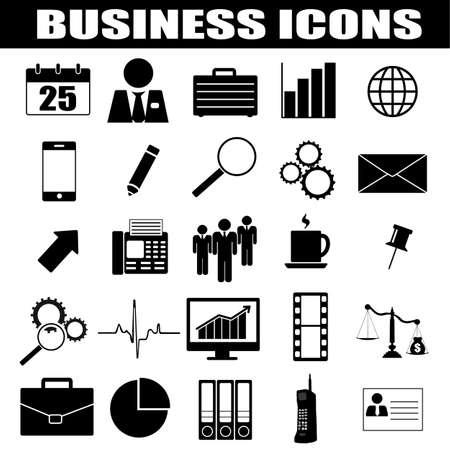 black pictogram: Business icons set on white background, vector illustration