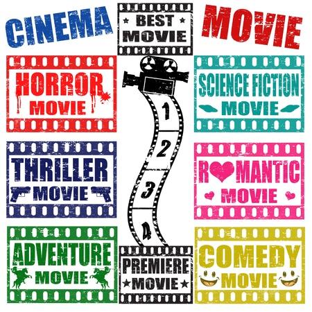 strip show: Set of movie genres grunge stamps on white, vector illustration