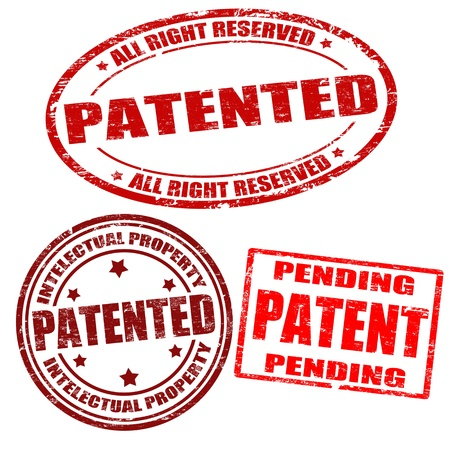patent: Set of patented grunge rubber stamps on white, vector illustration Illustration