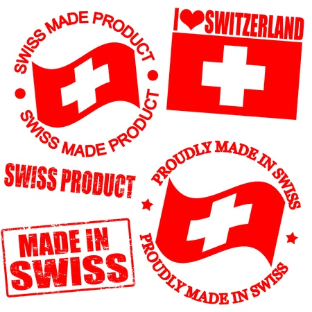 swiss insignia: Set of stamps and labels with the text made in Swiss written inside Illustration