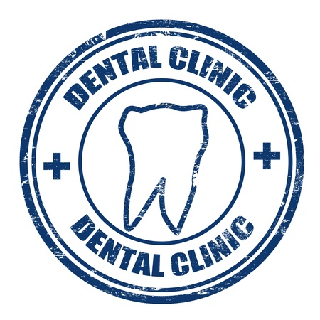 stomatology icon: Grunge rubber stamps with the text dental clinic written inside, vector illustration