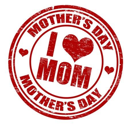 Grunge sello del día de madre de goma en blanco, ilustración vectorial