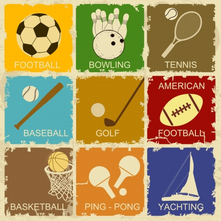 sport balls: Set of Vintage Sports separate Labels - Retro Signs poster, vector illustration