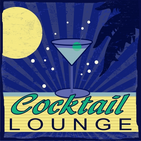 Cocktail Lounge vintage grunge poster, vector illustrator Vector