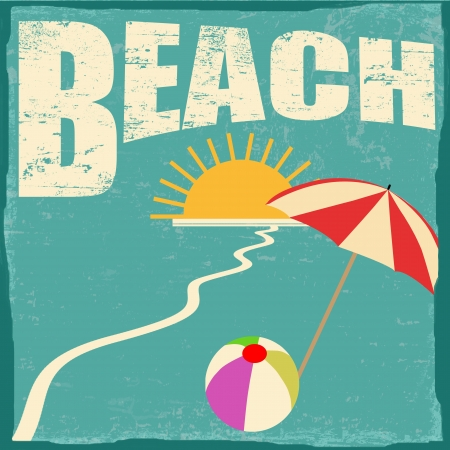 hot summer: Beach vintage grunge poster, vector illustrator