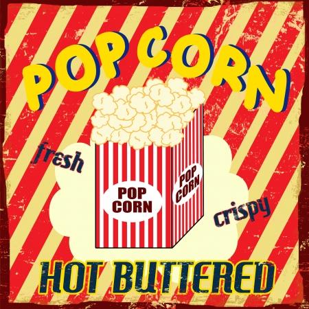 pop corn: Pop corn  vintage grunge poster, vector illustration