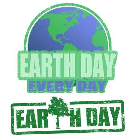 earth day: Green grunge rubber stamps with the text earth day written inside the stamp