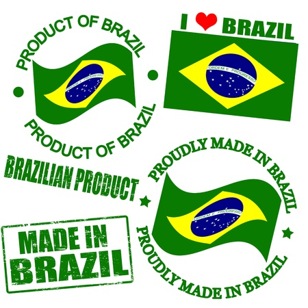 brasil: Set of stamps and labels with the text made in Brazil  written inside