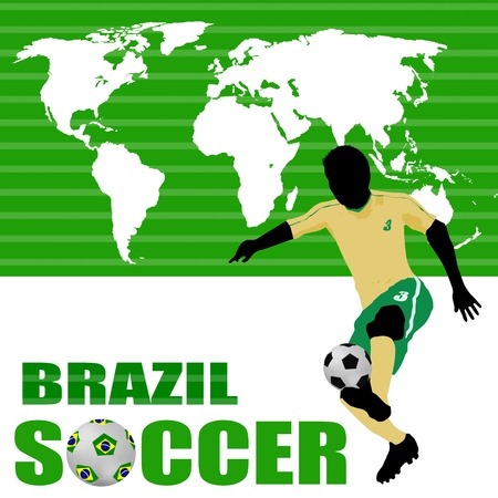 Brazil soccer poster with world map and player silhouette, illustration Vector