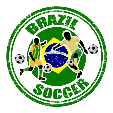 Grunge stamp with soccer players and name Brazil written inside, illustration Vector