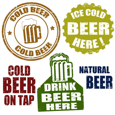 Set of grunge rubber stamps, with the beer mugs and text cold beer  written inside, illustration Vector